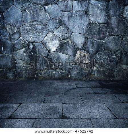 Grungy stone room - stock photo