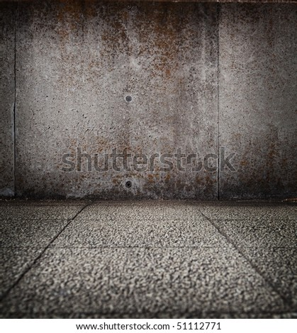 Grungy stone wall and floor - stock photo