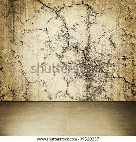 Grungy stone wall interior - stock photo