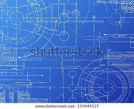Grungy technical blueprint illustration on blue background - stock photo