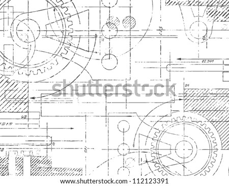 Grungy technical drawing illustration of gears and engineering parts - stock photo