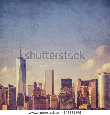 grungy, textured New York background - lower Manhattan view - stock photo