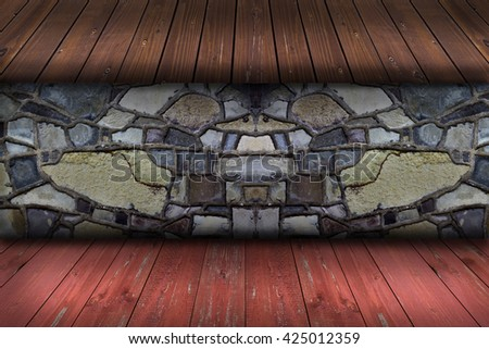 Grungy textured stone wall with wooden inserts , carpentry masonry concept - stock photo
