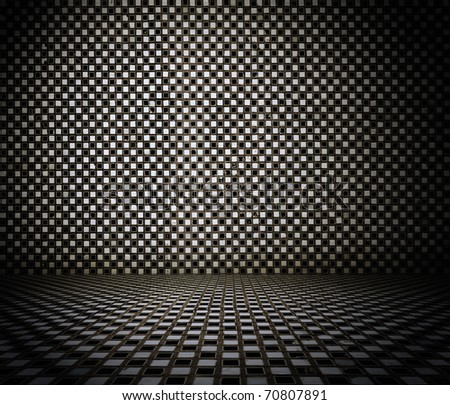 grungy tiled interior - stock photo