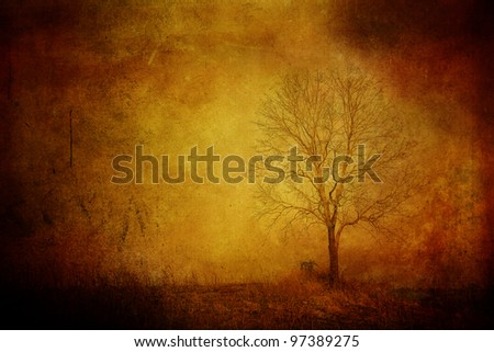 Grungy Tree on the hill. - stock photo