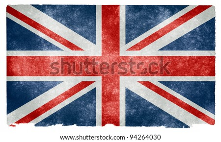 Grungy UK Flag on Vintage Paper - stock photo