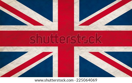 Grungy UK flag, retro paper texture  - stock photo