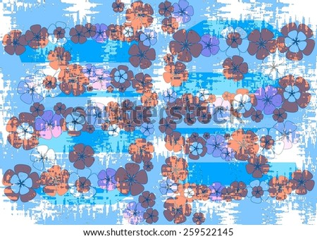 Grungy    unique  colorful   modern  floral abstract design superimposed   on a   blue textured grunge background ideal for vintage wallpapers  and  grungy  backgrounds. - stock photo