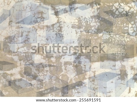 Grungy  unique  colorful textured  modern  geometric abstract design superimposed  with  perspective  rectangular motifs on a  plain background ideal for wallpapers  and retro backgrounds. - stock photo