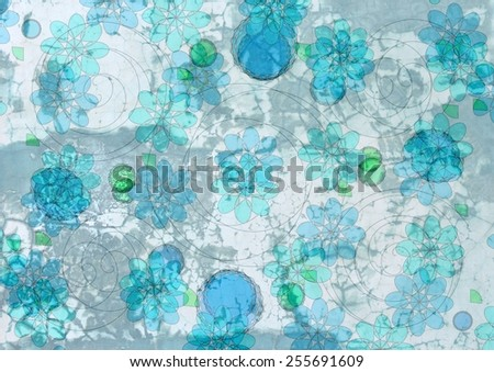 Grungy  unique  colorful textured  modern  geometric abstract design superimposed  with circular  floral and   rectangular motifs on a  plain background ideal for wallpapers  and retro backgrounds. - stock photo