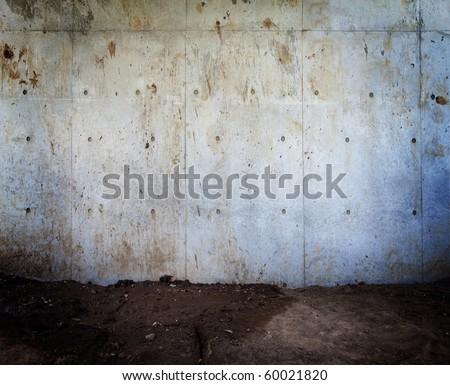 Grungy urban concrete wall - stock photo