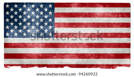 Grungy US Flag on Vintage Paper - stock photo
