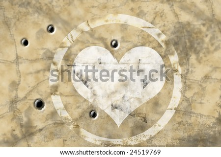 Grungy Valentine card with bullet holes - stock photo