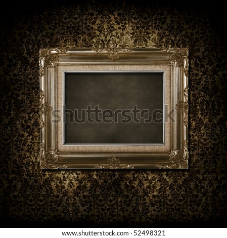 grungy victorian background and frame - stock photo