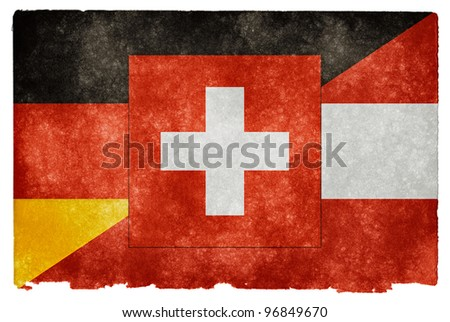 Grungy Vintage Flag Split Between Germany, Austria, and Switzerland (often used to represent the German language) - stock photo