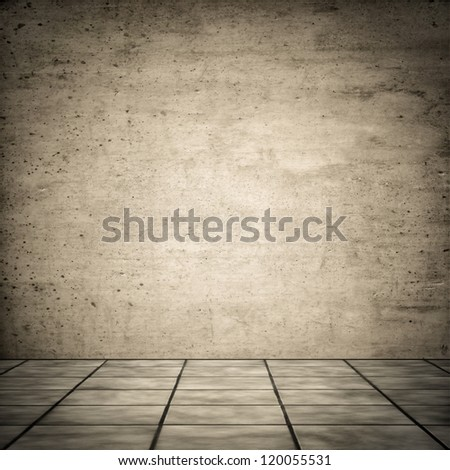 Grungy vintage look of ceramic floor with concrete wall for background - stock photo