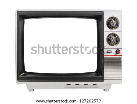 Grungy vintage portable television isolated with clipping path. - stock photo