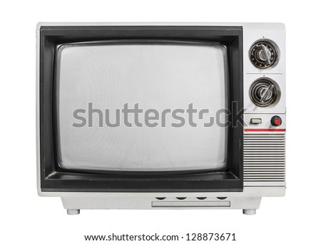 Grungy vintage portable television isolated with turned off screen. - stock photo