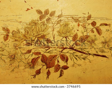 Grungy vintage roses, old damaged drawing, antique furniture - stock photo
