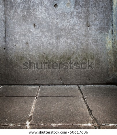Grungy wall and floor