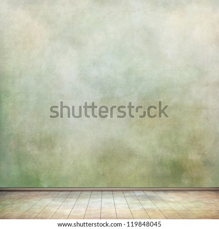 grungy wall and old wooden floor for your art - stock photo