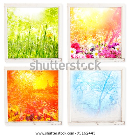 Grungy window frame with fantasy views for each season - with clipping path for frames