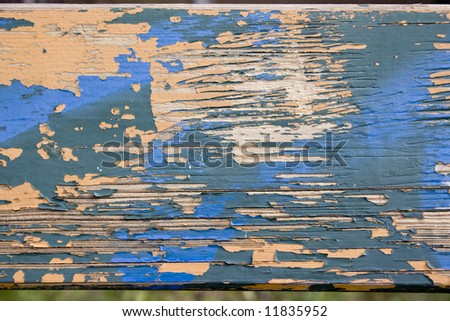 Grungy wood texture with paint flake - stock photo