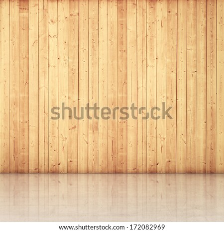 Grungy wood wall and concrete floor - stock photo