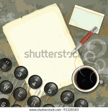 Grungy writers desk with stained paper and notes, coffee, pen and typewriter - stock photo