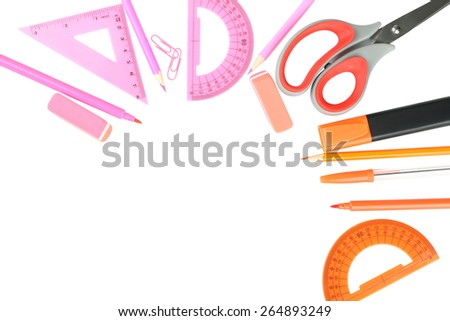 grupa school supplies pink-orange color - stock photo