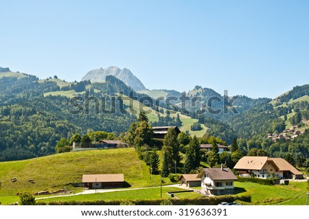 Gruyeres is a litlle town in Fribourg Switzerland - stock photo