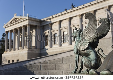 Gryphon in front of Parliament in Vienna, Austria - stock photo
