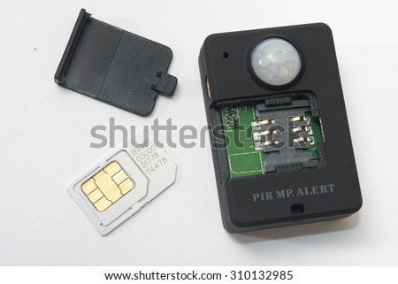 Gsm pir motion detector on the white background.