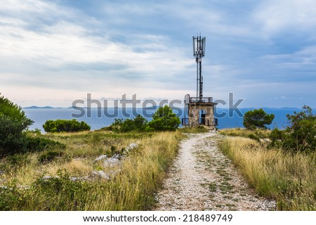 GSM Transceiver Tower near the Sea, Base Transceiver Station (BTS), Mobile Communication Technolgy - stock photo