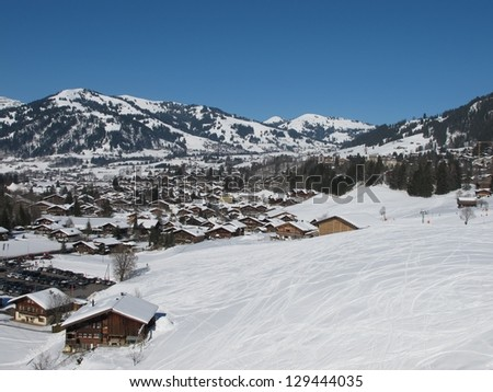 Gstaad, famous village in the Swiss Alps