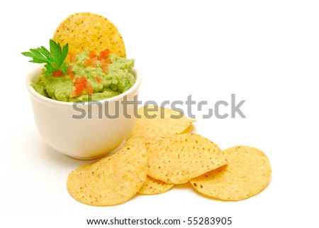 guacamole and corn chips isolated - stock photo