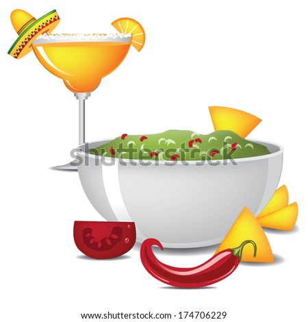 Guacamole and margarita with sombrero, jalapeno and maracas - stock photo