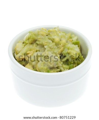 Guacamole Appetizer Healthy Snack in White Bowl. - stock photo