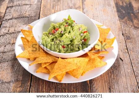 guacamole dip - stock photo