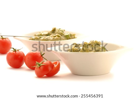 guacamole dip in bowl isolated on white background - stock photo