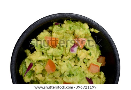 guacamole dip with tomatoes on white - stock photo