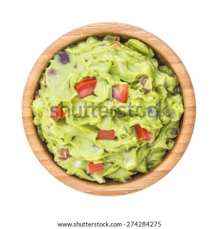 Guacamole in Wooden Bowl Isolated on White Background - stock photo