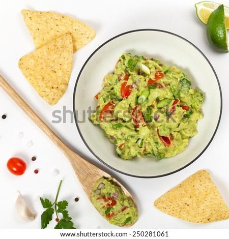 Guacamole on white background. Selective focus. - stock photo