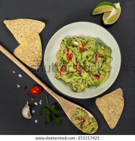 Guacamole. Selective focus. - stock photo