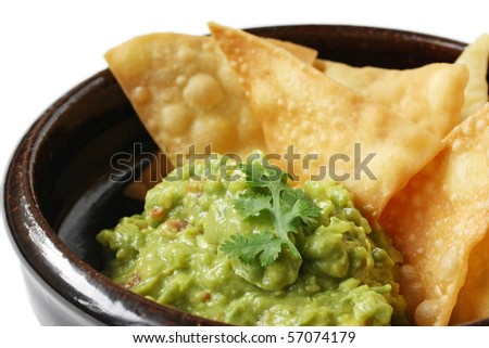 Guacamole with Tortilla Chips , Totopos - stock photo