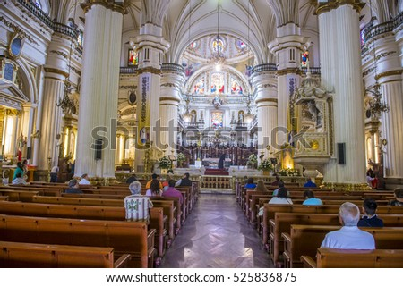 GUADALAJARA , MEXICO - AUG 29 : The interior of Parroquia De Nuestra Senora Del Rosario church in Guadalajara , Mexico on August 29 2016.  The church was built in 1958