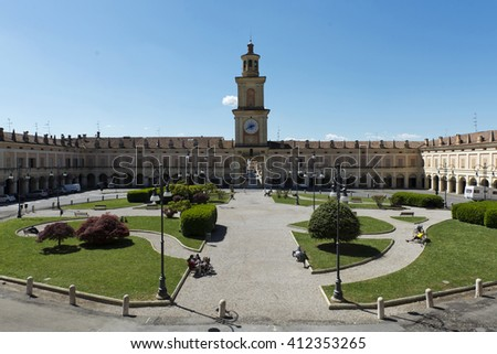 Gualtieri (Re),Italy, the historic  Greppi Palace of eighteenth century in Bentivoglio Square