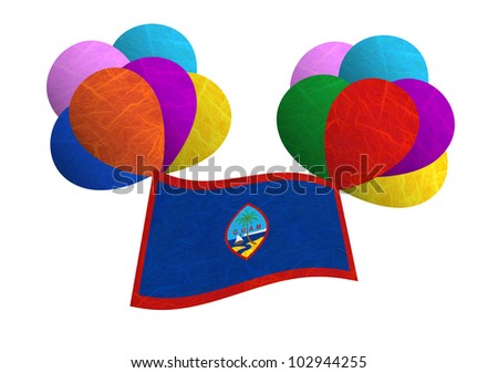 Guam flag balloon on the wind. Mulberry paper on white background.