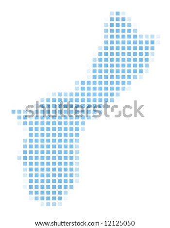 Guam map square mosaic. Easy to recolor. - stock photo