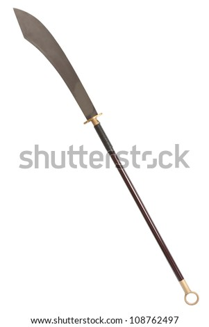 Guan Dao Kwan Dao or Kuan Tao Chinese pole weapon reclining moon blade isolated on white background with clipping path